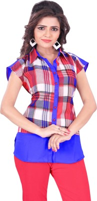 Trendif Women's Checkered Casual Red, White, Blue Shirt