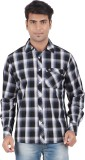 Anytime Men's Checkered Casual Black Shi...