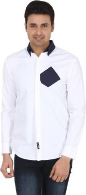 Suchos Men's Solid Casual White, Dark Blue Shirt