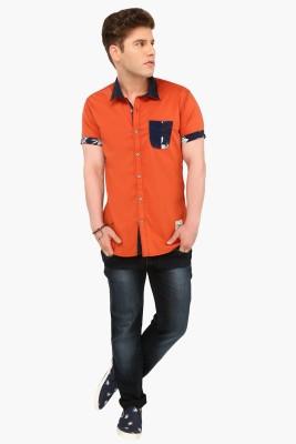 R&C Men's Self Design Casual Orange Shirt
