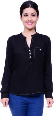Lamora Women's Solid Casual Black Shirt