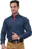 Unixx Men's Solid Formal Blue Shirt
