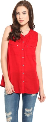 Free & Young Women's Solid Casual Red Shirt