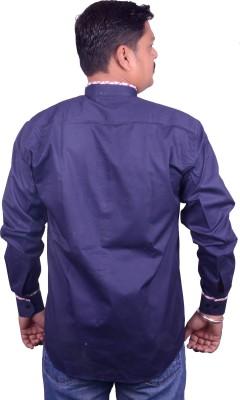 Miway Men's Applique Casual Dark Blue Shirt