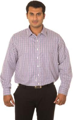 Nova Scottia Men's Checkered Formal Purple Shirt