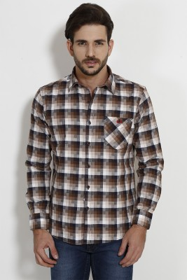 SIN Men's Checkered Casual Brown Shirt