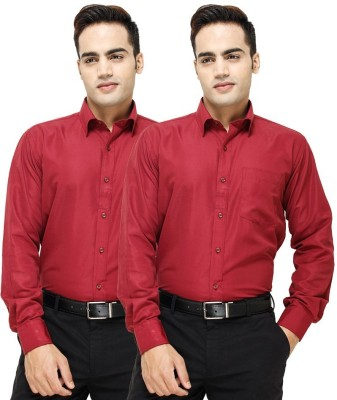 VKG Men's Solid Formal Multicolor Shirt(Pack of 2)