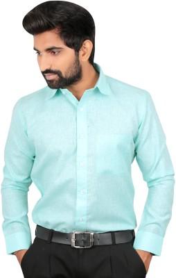 Caris Men's Solid Formal Green Shirt