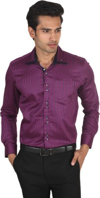 LSD Casuals Men's Striped Casual Purple Shirt