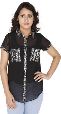 GUGG Women's Self Design Casual Black Shirt