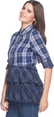 Sixes and Sevens NYC Women's Checkered Casual Blue Shirt