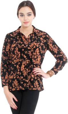 Nun Women's Floral Print Casual Black Shirt