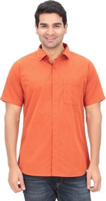 Anytime Men's Checkered Casual Orange Shirt