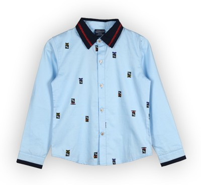 Lilliput Boys Printed Casual Blue Shirt