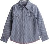 XnY Boys Printed Casual Dark Blue Shirt