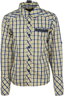 Bells and Whistles Boy's Checkered Casual Yellow Shirt