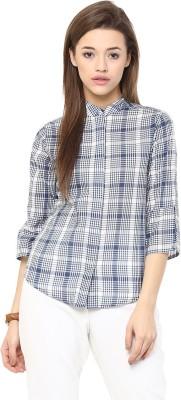 The Office Walk Women's Checkered Formal Blue Shirt