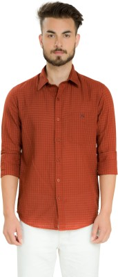 Club X Men's Checkered Formal Brown Shirt
