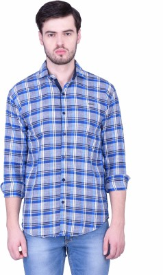 THE SHIRT FACTORY Men's Checkered Casual Blue Shirt