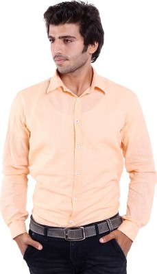 Deeksha Men's Solid Casual Orange Shirt