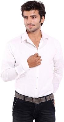 Deeksha Men's Solid Casual White Shirt