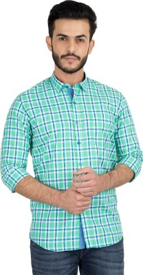 British Club Men's Checkered Casual Green, Blue Shirt