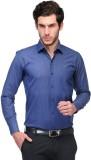 Qpark Men's Solid Formal Blue Shirt