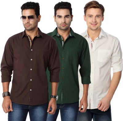 Suspense Men's Solid Casual Brown, Green, White Shirt