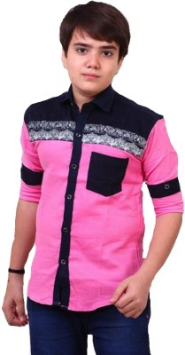 Kiddu Boy's Solid Casual, Party Pink Shirt