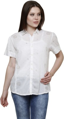 Vastrasutra Women's Printed Formal White Shirt