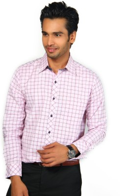Provogue Men's Checkered Formal Pink Shirt