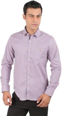 J Hampstead Men's Checkered Casual Orange Shirt