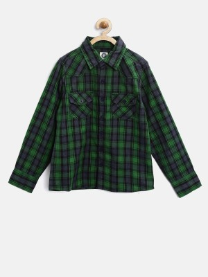 Yk Boy's Checkered Casual Green Shirt