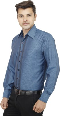 koutons outlaw Men's Striped Formal Blue Shirt