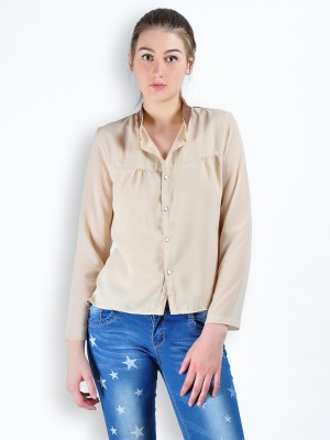MySin Women's Solid Casual Beige Shirt