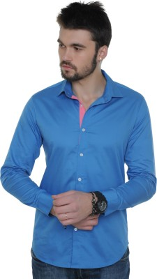 See Designs Men,s Solid Casual Blue Shirt