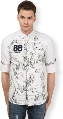 The Indian Garage Co. Men,s Printed Casual White Shirt