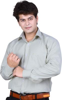 Ishin Designer Studio Men's Striped Casual Grey Shirt