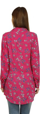 Raaziba Women's Printed Casual Pink Shirt