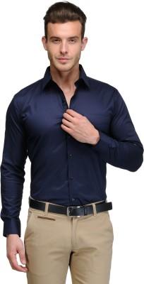 Hancock Men's Solid Formal, Party Dark Blue Shirt
