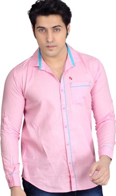 Private Image Men's Solid Casual, Party Pink Shirt