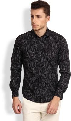 I-Voc Men,s Printed Party Black Shirt