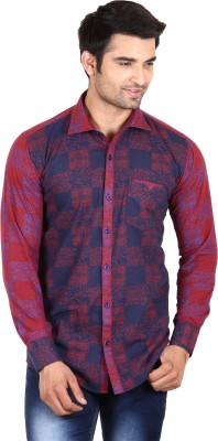 Swiss Culture Men's Printed Casual Red, Blue Shirt
