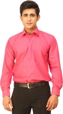 Seven Days Men's Solid Formal Pink Shirt