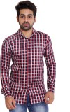 Lime Time Men's Checkered Casual Red Shi...