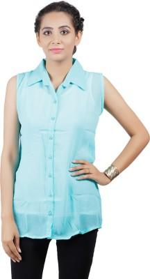 Asmara Women's Solid Casual Light Blue Shirt