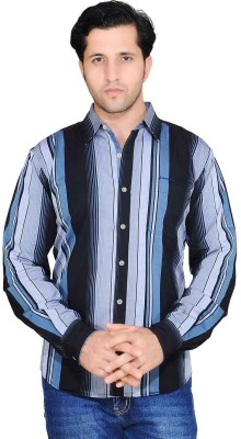 Denimize Men's Striped Casual Black Shirt