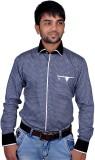 DreamOne Men's Printed Casual Blue Shirt