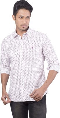 Barrier Reef Men's Geometric Print Casual White, Red Shirt