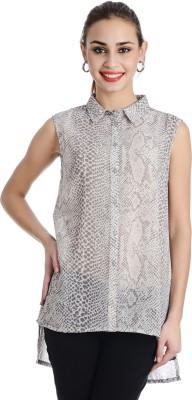 Keona Women's Self Design Casual Grey Shirt